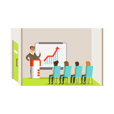 Businesswoman pointing at a whiteboard with growth graph at a business meeting in an office vector Illustration Иллюстрация