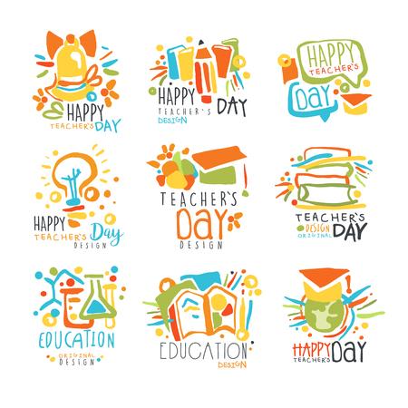 Happy Teachers Day-labels, set grafische sjablonen