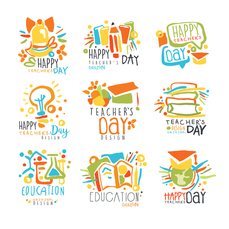 Happy Teachers Day labels, set of   graphic templates