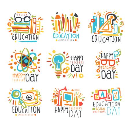 Education labels original design, set of   graphic templates