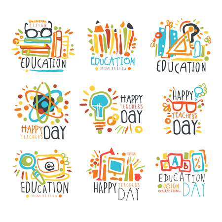 Education labels original design, set of   graphic templates