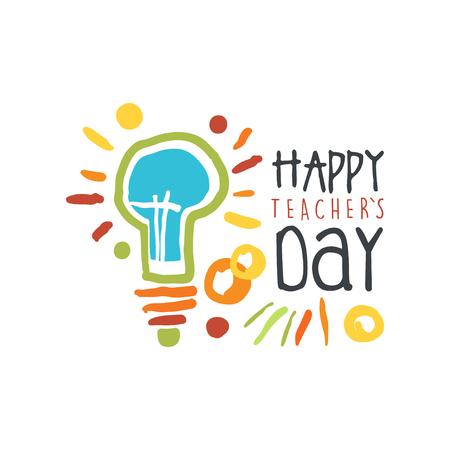 Étiquette Happy Teachers Day, arrière-plan graphique graphique coloré dessin dessiné à main Illustration