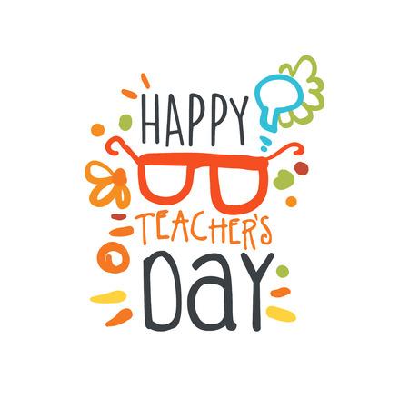 Happy Teachers Day label, back to school logo graphic template Stock Illustratie