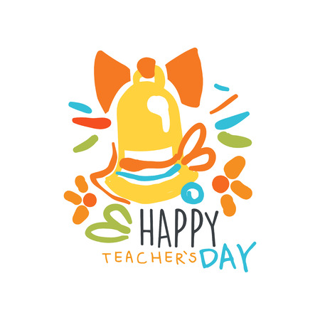 Happy Teachers Day label, back to school graphic template