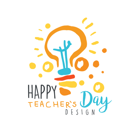 Happy Teachers Day label design, back to school   graphic template