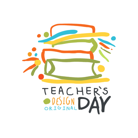 Happy Teachers Day label original design, back to school graphic template Ilustracja