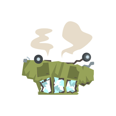 Green car overturned and damaged by accident cartoon vector Illustration