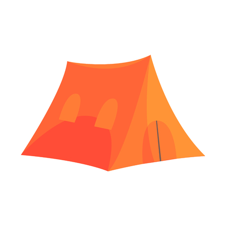 Orange tent tourist equipment vector Illustration