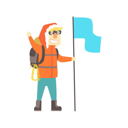 Smiling climber man in sunglasses with backpack and blue flag, colorful character vector Illustration