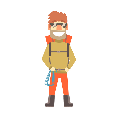 Smiling climber man in sunglasses with equipment for mountaineering, colorful character vector Illustration