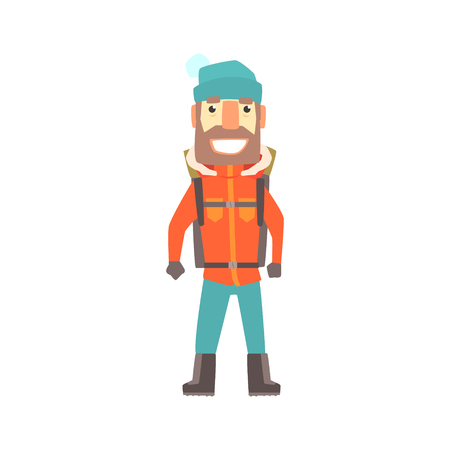 Climber man standing with backpack, colorful character vector Illustration