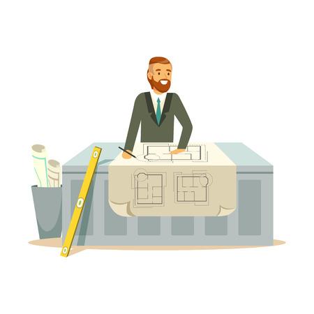 Jonge glimlachende architect die aan zijn project bij het bureau, kleurrijke karakter vectorillustratie werken