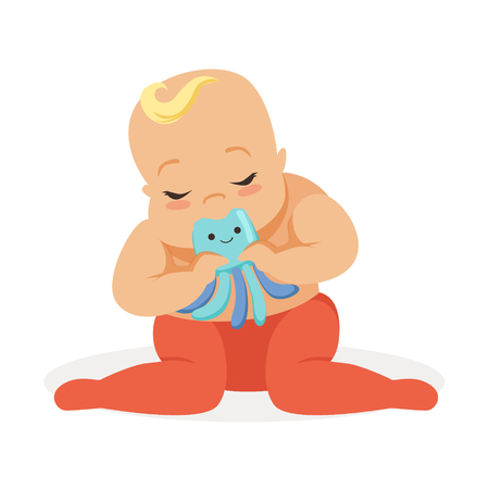 Adorable baby sitting and playing with octopus teether toy, colorful cartoon character vector Illustration
