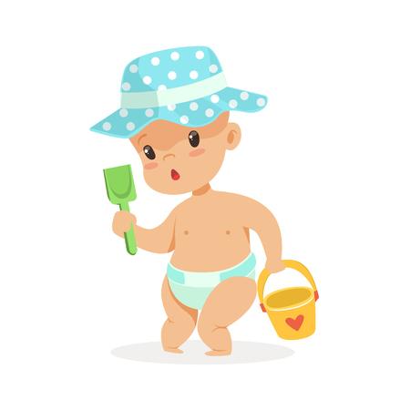 Leuke baby in luier het spelen met stuk speelgoed emmer en schop, de kleurrijke vectorillustratie van het beeldverhaalkarakter