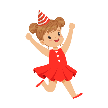 Happy smiling baby girl wearing a red dress and party hat jumping. Childrens birthday party colorful cartoon character vector Illustration