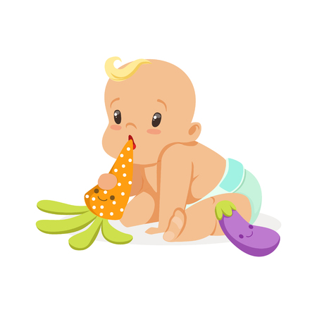 baby playing toy: Adorable baby in a diaper sitting and playing with teether toys, colorful cartoon character vector Illustration
