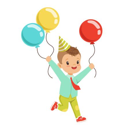Feliz dulce niño con un sombrero de fiesta con coloridos globos. Ilustración de vector de personaje de dibujos animados de fiesta de cumpleaños de los niños Foto de archivo - 81143237