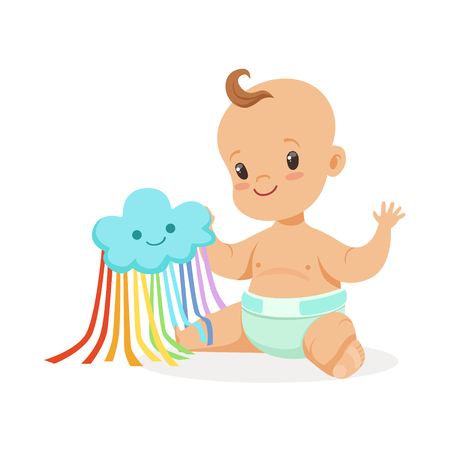 baby playing toy: Sweet smiling baby in a diaper playing with toy cloud, colorful cartoon character vector Illustration
