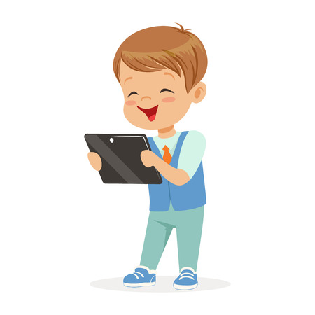 Happy little boy sitting and playing with digital tablet. Child and modern technology colorful cartoon character vector Illustration  イラスト・ベクター素材
