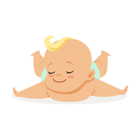 Sweet little baby lying on his stomach, colorful cartoon character vector Illustration