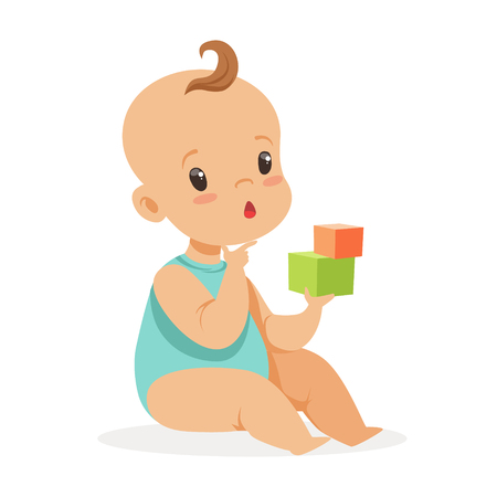 Sweet little baby sitting and playing with cubes, colorful cartoon character vector Illustration