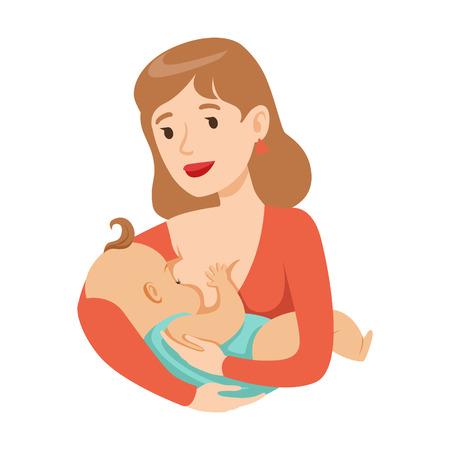 母乳で赤ちゃんを授乳する若い母親、カラフルな漫画のキャラクターベクトルイラスト