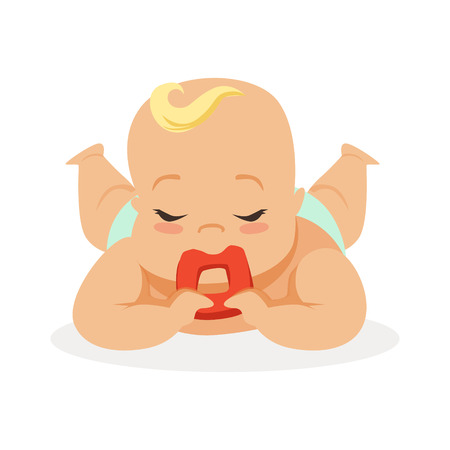 Sweet little baby with closed eyes lying on his stomach teething and chewing teethers, colorful cartoon character vector Illustration