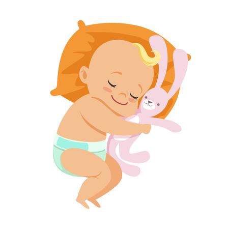 Adorable kleines Baby in einer Windel schlafen und umarmt seine Stofftier Hase, bunte Cartoon-Figur Vektor Illustration Vektorgrafik