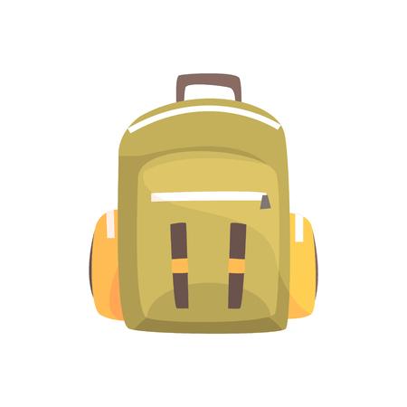 Khaki backpack, classic styled rucksack vector Illustration Çizim