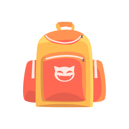 Colorful childrens backpack, rucksack for school vector Illustration