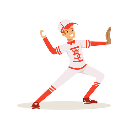 Smiling baseball player in a red uniform pitching the ball vector Illustration