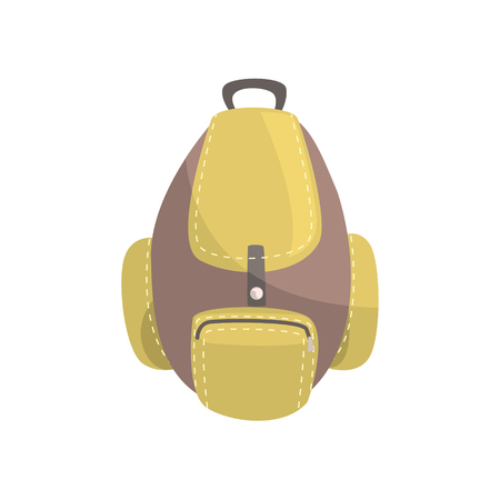 Khaki and brown backpack, classic styled rucksack vector Illustration