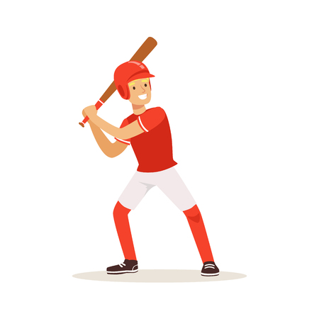 Baseball player in red uniform swinging with bat vector Illustration Ilustração