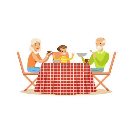 Grootmoeder, grootvader en kleinzoon die in openlucht lunch hebben, gelukkige familiekarakters bij een picknick vectorillustratie Stock Illustratie