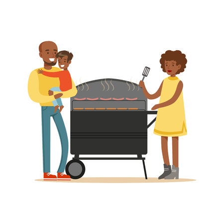 Young black woman grilling sausages on a grill for her family vector Illustration
