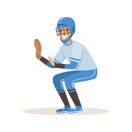 Baseball player in a blue uniform trying to catch ball vector Illustration isolated on a white background