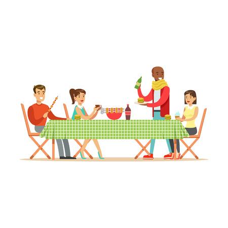 Gelukkige vrienden die van barbecue, vrolijke mensenkarakters genieten bij een picknick vectorillustratie