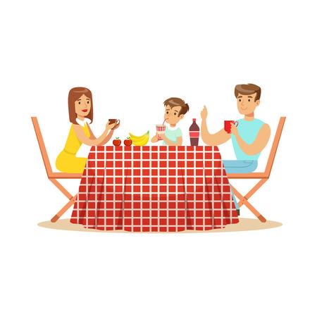 Gelukkige familie die lunch hebben in openlucht, moeder, vader en zoonskarakters bij een picknick vectorillustratie