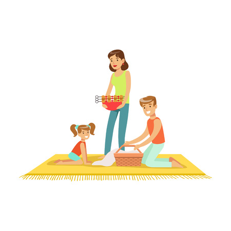 Family on vacation having barbeque outdoors vector Illustration