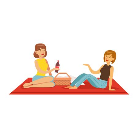 Mooie meisjes die picknick hebben, twee vrouwenkarakters die op een vectorillustratie van de picknickplaid zitten