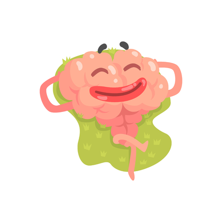 Happy humanized cartoon brain character lying and sunbathing, intellect human organ vector Illustratio