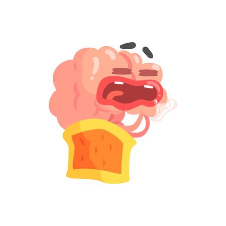 Humanized cartoon brain character sleeping and drooling, intellect human organ vector Illustration