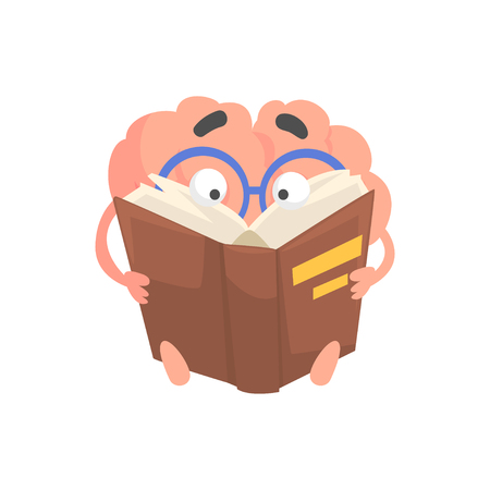 Smart humanized cartoon brain character reading a book, intellect human organ vector Illustration