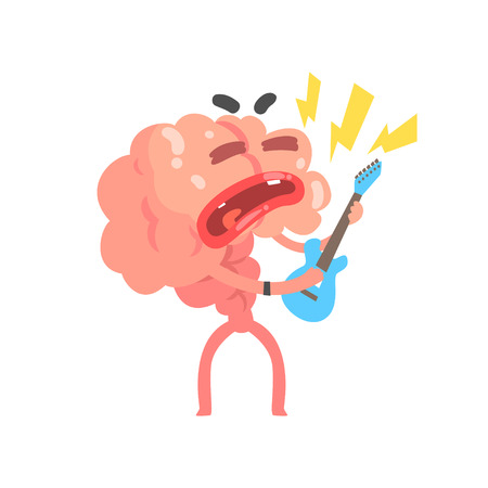 Humanized cartoon brain character playing guitar, intellect human organ vector Illustration