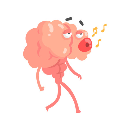 Humanized cartoon brain character walking and whistling a melody, intellect human organ vector Illustration