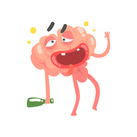 Drunk humanized cartoon brain character walking with a bottle, intellect human organ vector Illustration Çizim