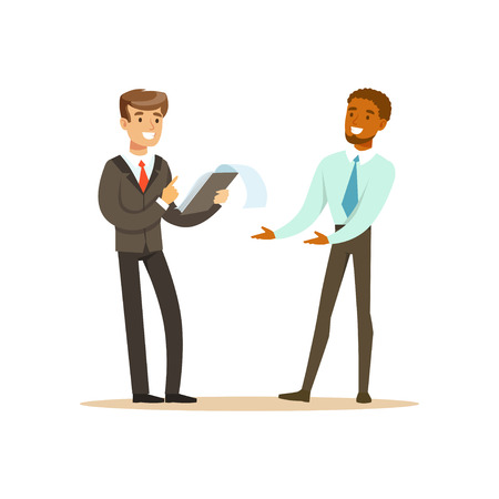Two businessmen discussing new project in office vector Illustration