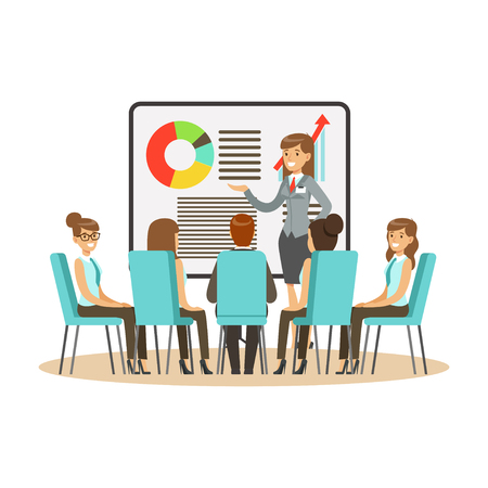 Businesswoman in suit making presentation and explaining chart on a whiteboard, business meeting in an office vector Illustration Stock Illustratie
