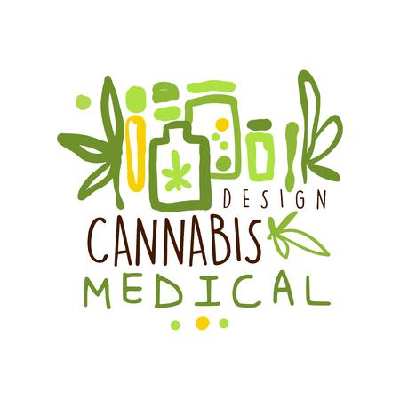 Medical cannabis label,  graphic template Çizim