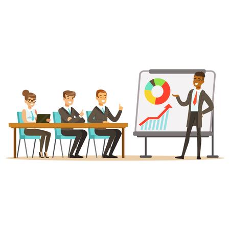 Zakenman in kostuum die presentatie maken en grafiek op een whiteboard, commerciële vergadering in een bureau vectorillustratie verklaren